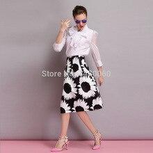 Women's Black & White High Waist Flower Print Elegant A-line Skirt