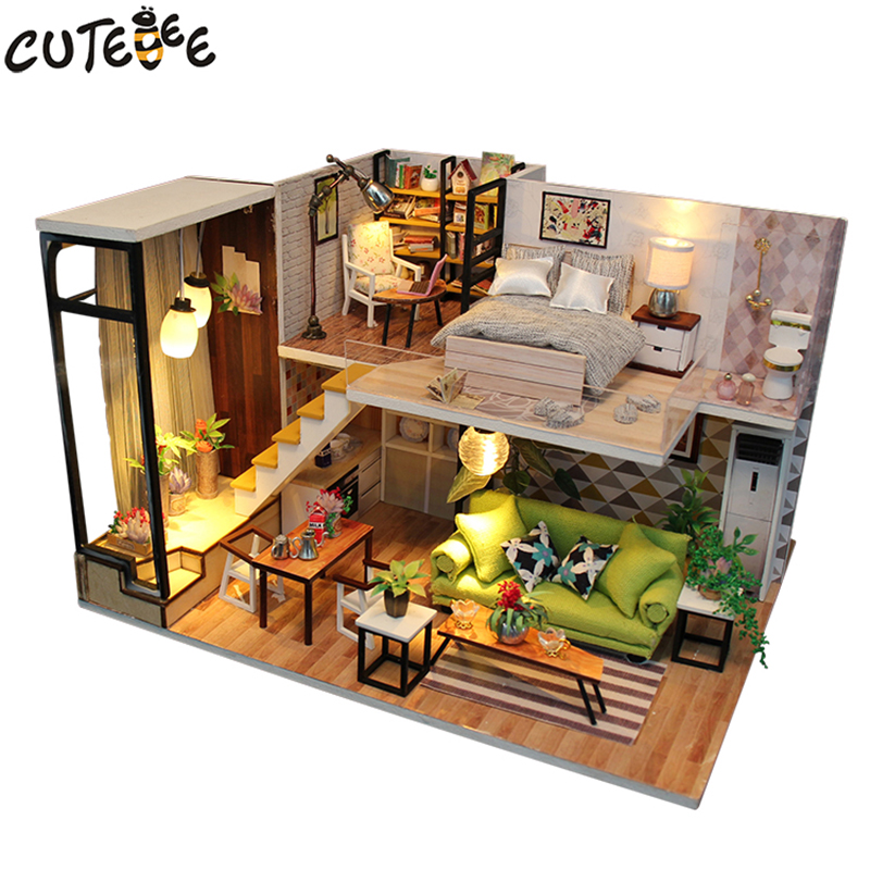 DIY Wooden Doll House With Furnitures Miniature Set Dollhouse Toys For Children Wood House Home Decor Crafts Valentine Day Gift цена 2017