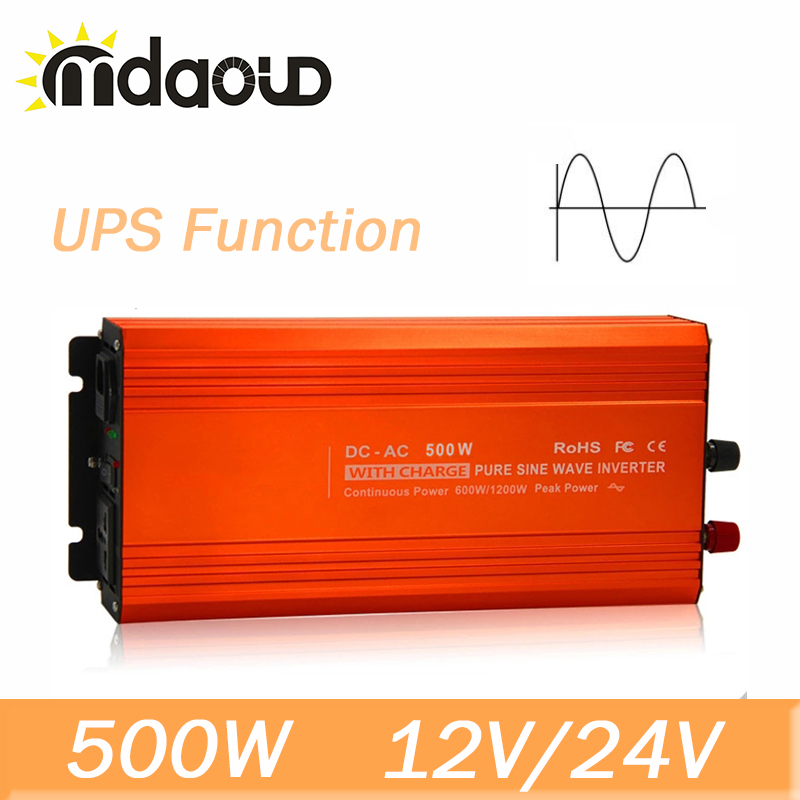 500W 12/24VDC To 110/220VAC 1000W Peak Pure Sine Wave Inverter with UPS function