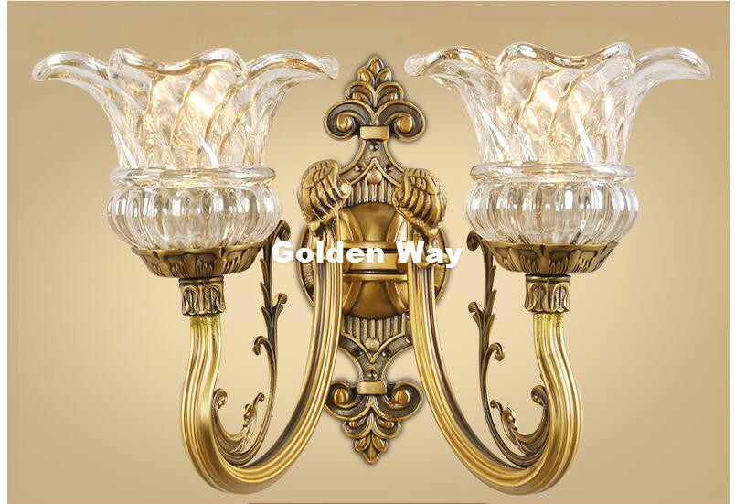 Бесплатная доставка Медь настенный светильник K9 кристалл настенный свет Крытый бра ночники 1 световой/2 свечи украшение дома