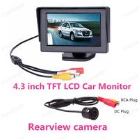 2 in1 TFT 4.3 Inch Auto TFT LCD Rearview Parking Monitor + LED Night Vision CCD Backup Rear View Camera With Car Monitors