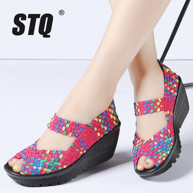 STQ 2020 Summer Women Platform Sandals Shoes Women Woven Flat Shoes Flip Flops High Heel Plastic Shoes Ladies Slip On Shoes 559