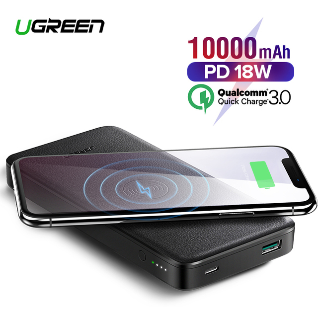 Ugreen 10000mAh Power Bank Portable Charging Wireless Power bank 18W USB PD Powerbank For iPhone X Xiaomi Mi8 External Poverbank