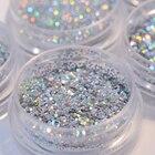 Holographic Nail Glitter Powder Silver Holo Sequins Nail Glitter Dust Pigment Paillette Manicure DIY Nail Art Decoration