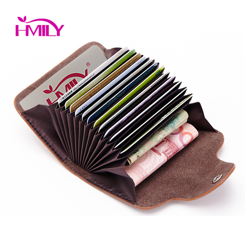 HMILY Genuine Cow Leather Women Card Holder Business 12 Card Slot  Ladies Card Wallet 5 Solid Color Card Case Unisex Zero Wallet