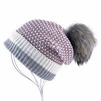 Lana de invierno de Punto Sombrero de la Gorrita Tejida de Las Mujeres de piel de Mapache Bola Pompón Gorros Skullies Caps Ladies Sombreros De Punto de Felpa Gruesa Para mujeres