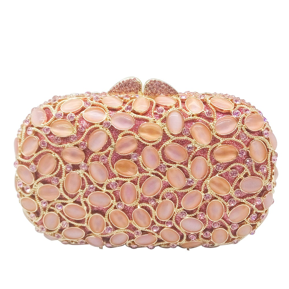 evening bag Pink Opal Stones Crystal Women Evening Purse Clutch Bag Bridal Wedding Party Handbags Hollow Out Metal Clutches luxury crystal clutch handbag women evening bag wedding party purses banquet