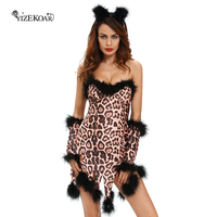Fantasias Sexy Erotic Halloween Costumes For Women Sexy Sleeveless Fluffy Leopard Costume Set Deguisement Adultes LC8994