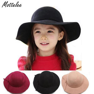 d6b4082e8fd Mottelee New Style Soft Child Sun Caps Vintage Wide Brim Wool Felt Bowler  Fedora Hat Floppy Cloche Girl kids Sunhat for 3-7 year