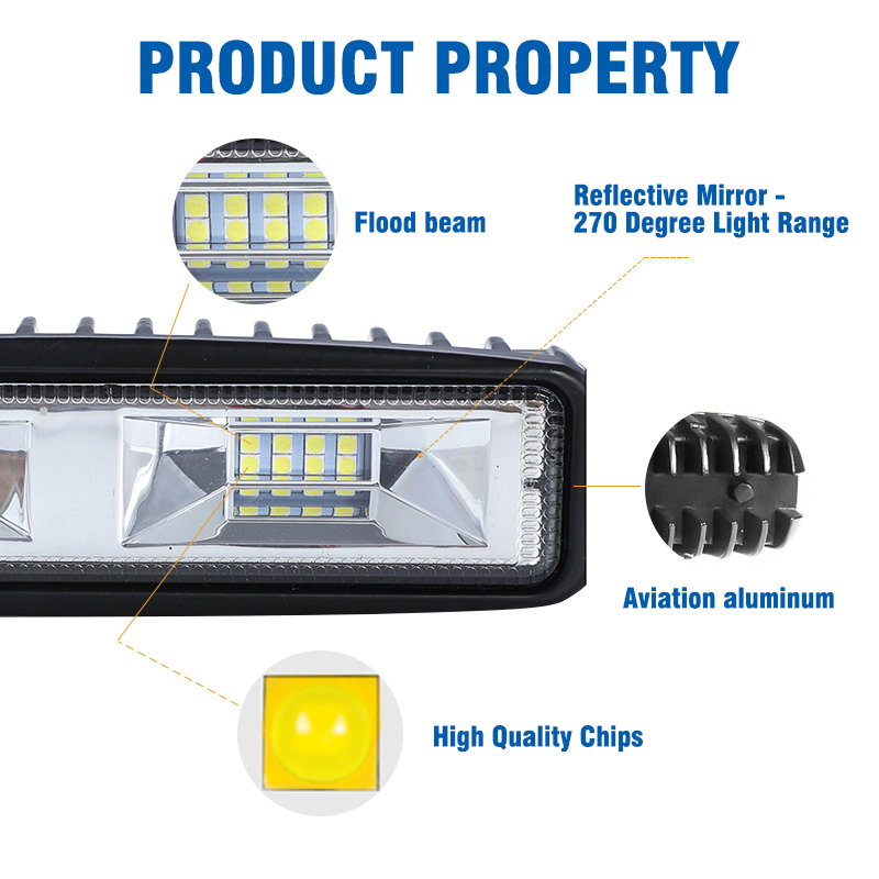 Image 3 - OKEEN Super Bright LED Work Light 48W Offroad Car 4WD Truck Tractor Boat Trailer 4x4 SUV ATV 12V Flood LED Light Bar Fog Lamp-in Light Bar/Work Light from Automobiles & Motorcycles