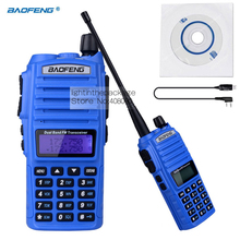 NKTECH USB Programming Cable & BAOFENG UV-82 Dual Band VHF UHF 136-174/400-520MHz Double PTT Two Way Radio Walkie/Talkie Blue