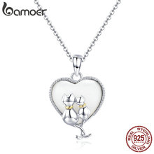 BAMOER 925 Sterling Silver Couple Cat Necklaces Pendant for Women Sweet Heart Necklace Sterling Silver Jewelry Collar SCN297
