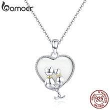 BAMOER 925 ayar gümüş çift kedi kolye kolye kadınlar için tatlı kalp kolye gümüş takı yaka SCN297