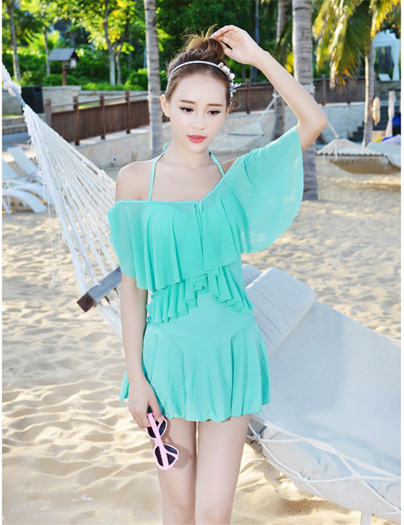5 Colors Unique Design Womens Swimming Suit Skirt Bathing Suits One Piece Swimwear Solid -9299
