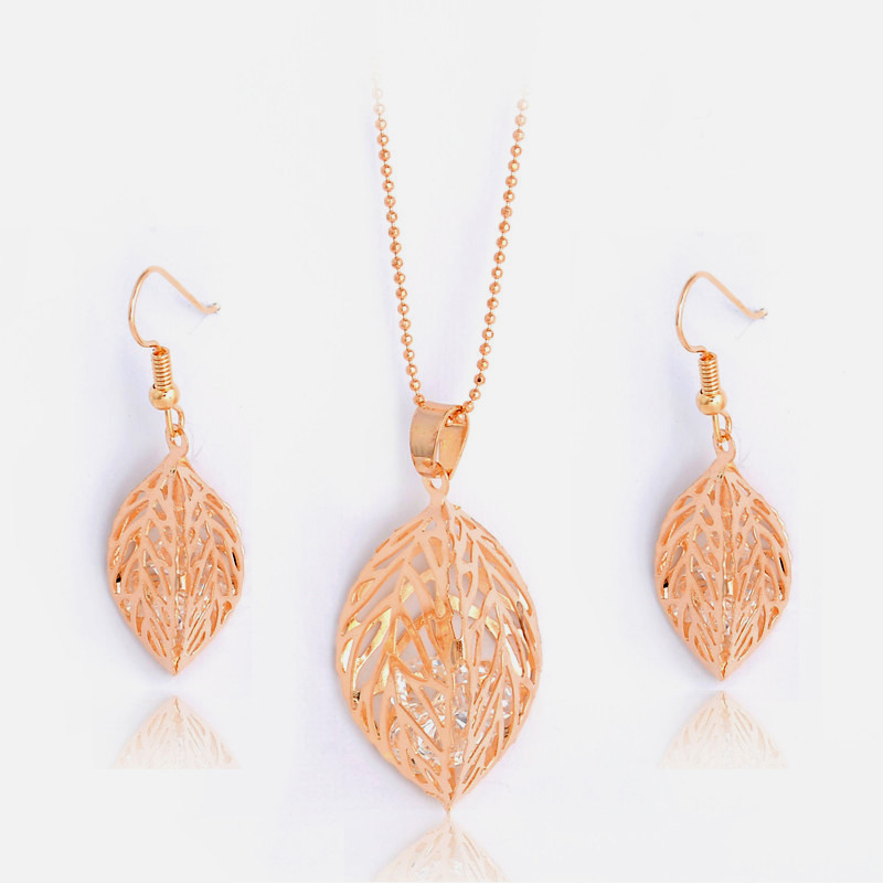 H:HYDE 1SET Fashion Womens Gold Color Classic Hollow Leaf Austria Crystal Necklace Earrings Wedding Jewelry Sets Wholesale 5
