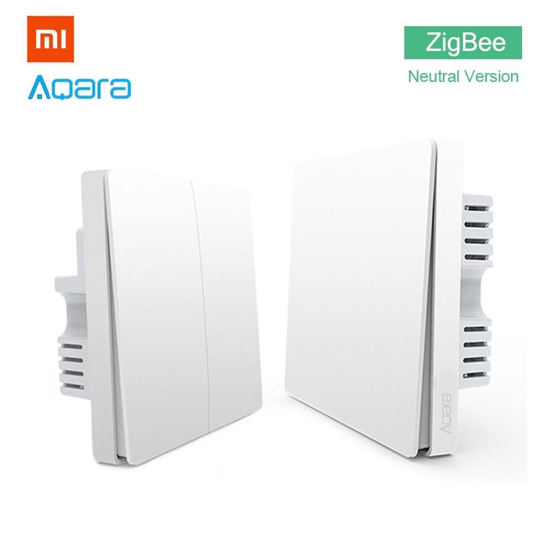 Xiaomi Aqara Wall Light Switch Home ZigBee Neutral Version Single Double Button Key Smart Home for Mi Home APP MIJIA Gateway Hub