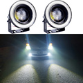 1pair LED Fog Lights 30W COB Waterproof Projector With Lens Halo Angel Eyes Rings 5 Color Optional 12V SUV ATV Off Road Fog Lamp