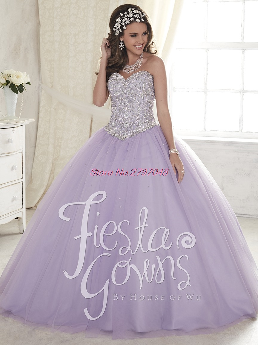7f5a408ea Purple White Quinceanera Dresses 2017 For 15 Year Tulle Organza Beaded  Cheap Vestido de 15 Anos Sweet 16 Dress Q168