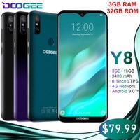 Original Doogee Y8 Android 9.0 Waterdrop Screen Smartphone Gradient Back Cover 3+32GB 3400mAh 4G LET 19:9 6.1 HD Mobile Phones