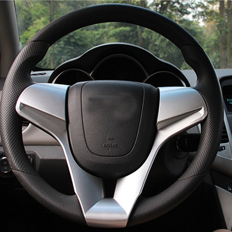 ABS Chrome Car Interior Steering Wheel Sequins Trim For Chevrolet Classic Cruze Sedan Hatchback 2009 10 2011 2012 2013 2014
