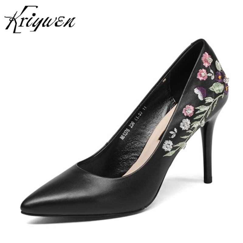 100% Natural Leather Women Pumps Embroidered Woman Party Shoes Concise High Heels Stilettos Pointed Toe Office Femmes Footwear 100% natural