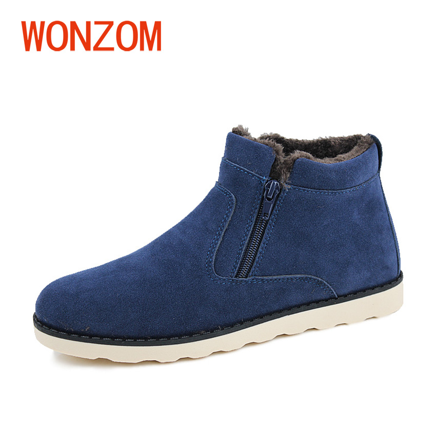 WONZOM Winter Fashion Men Casual Snow Boots Plush Lining Warm Ankle Shoes Men 2017 New High Quality Snow Boots Gift Size 37-47 super warm fashion fleece inside men jeans high quality cotton jeans men casual straight slim mens jeans size 28 38 nzx9008