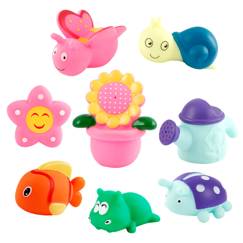 Non-Toxic Baby Bath Toys Swimming Pool Baby Toys Kids Water Spray Colorful Fish Boat Garden Soft Rubber Toys for Boys Girls