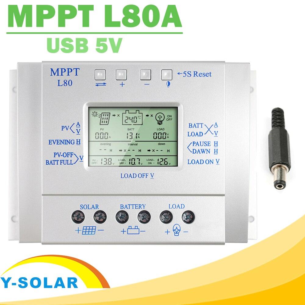 Contrôleur de Charge solaire Y-SOLAR MPPT 80A 12 V 24 V régulateur solaire 80A pour entrée Max 48 V avec contrôle de la lumière et de la minuterie USB 5 vexit