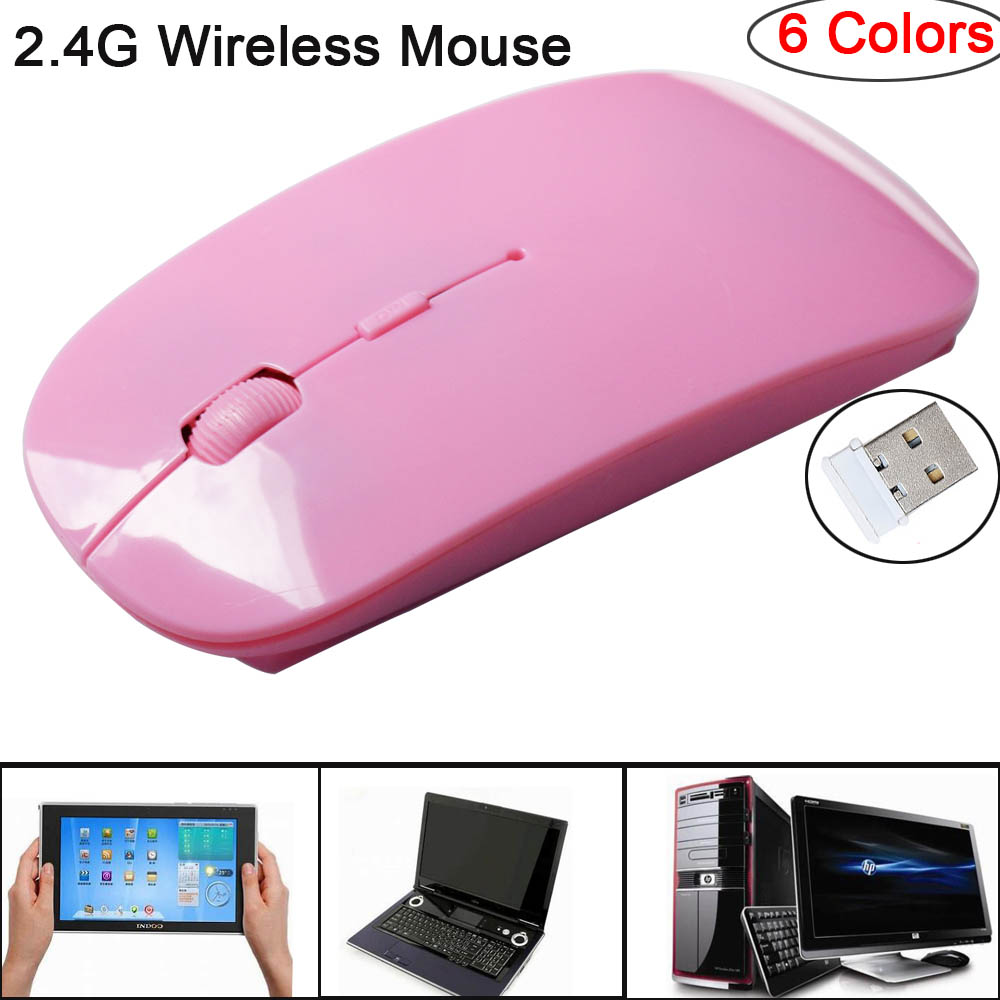 2.4G Wireless Mouse 1600 DPI USB Optical Wireless Computer Mouse 2.4G Receiver Super Slim Mouse Pink one size 1