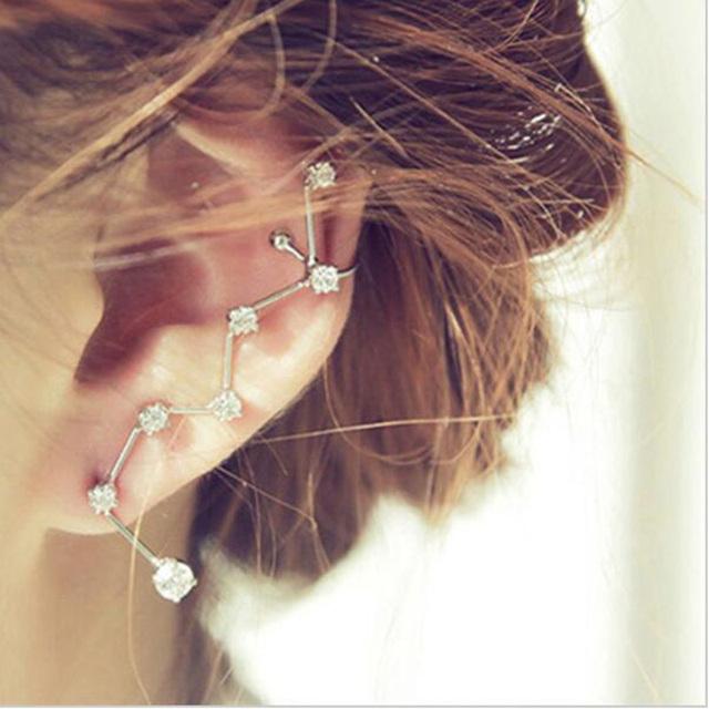 1 PCS Women Earrings Big Dipper Geometric Rhinestone Ear Cuff Statement Earring