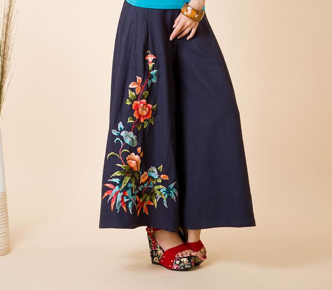 185ab64fac Handmade Embroidery Girl Bohemia Pants Wide Leg Skirt Pant Linen Trousers  Gypsies Clothing Belly Dancer Costume Free Shipping-in Pants   Capris from  Women s ...