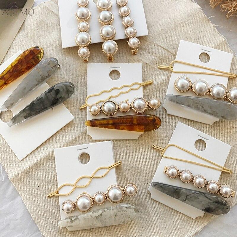 AOMU 1 Set Design Korea Japan Metal Gold Pearl Irregular Acetate Hair Clip For Women Wedding Party Hair Amazing Price Jewelry