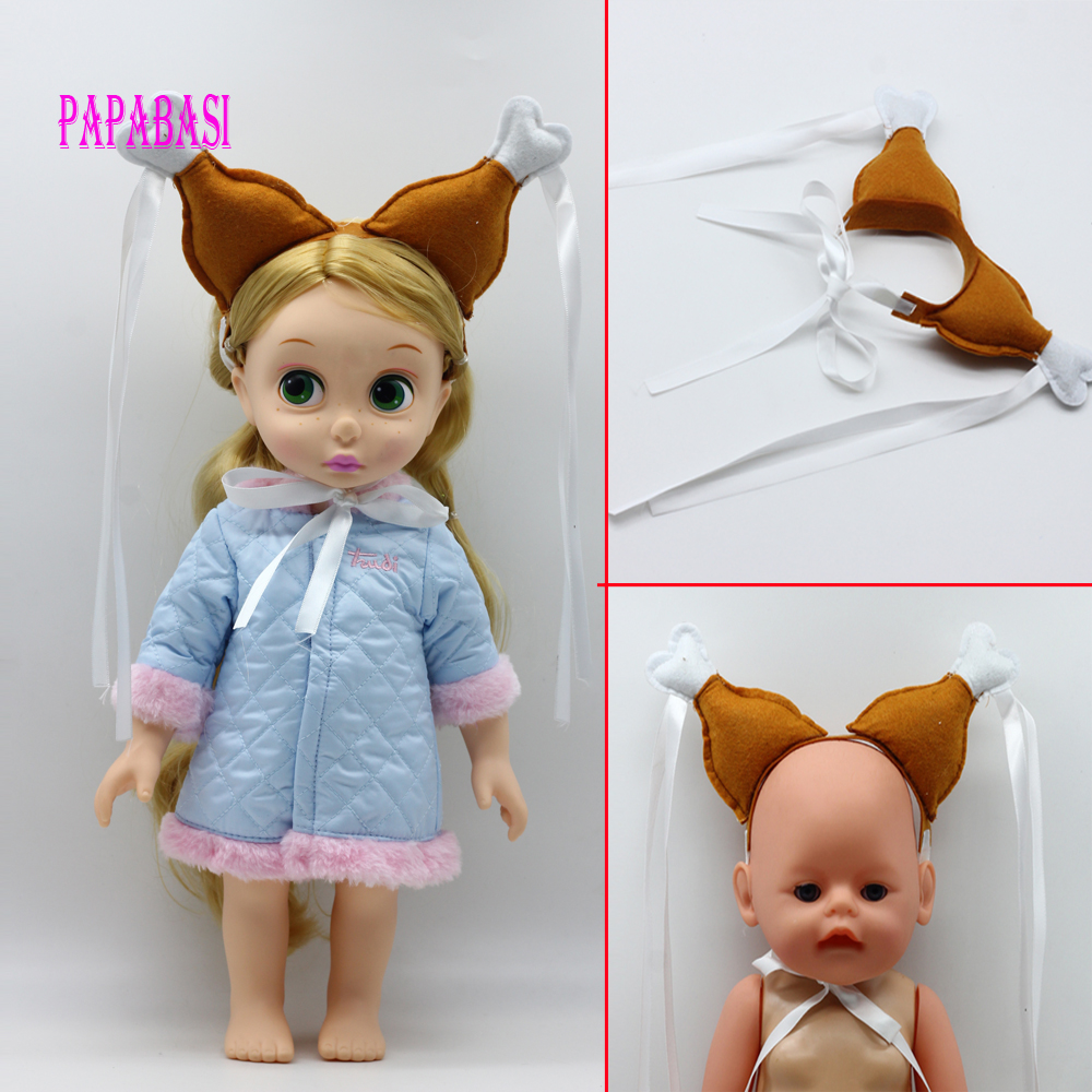 1pc chicken legs headband with silk ribbon for 18 inch American girl dolls, fit baby born zapf dolls