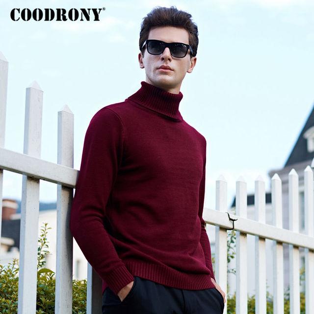 Cashmere Wool Sweater For Men Thick Warm Modern Elegant Turtleneck Pullover Winter Plus Size