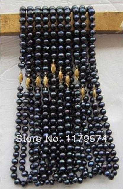 """Nuevo 10 UNIDS 7-8mm al por mayor de joyería de moda Negro Collar de Perlas de alta calidad de las mujeres el envío libre 18 """"xu103"""