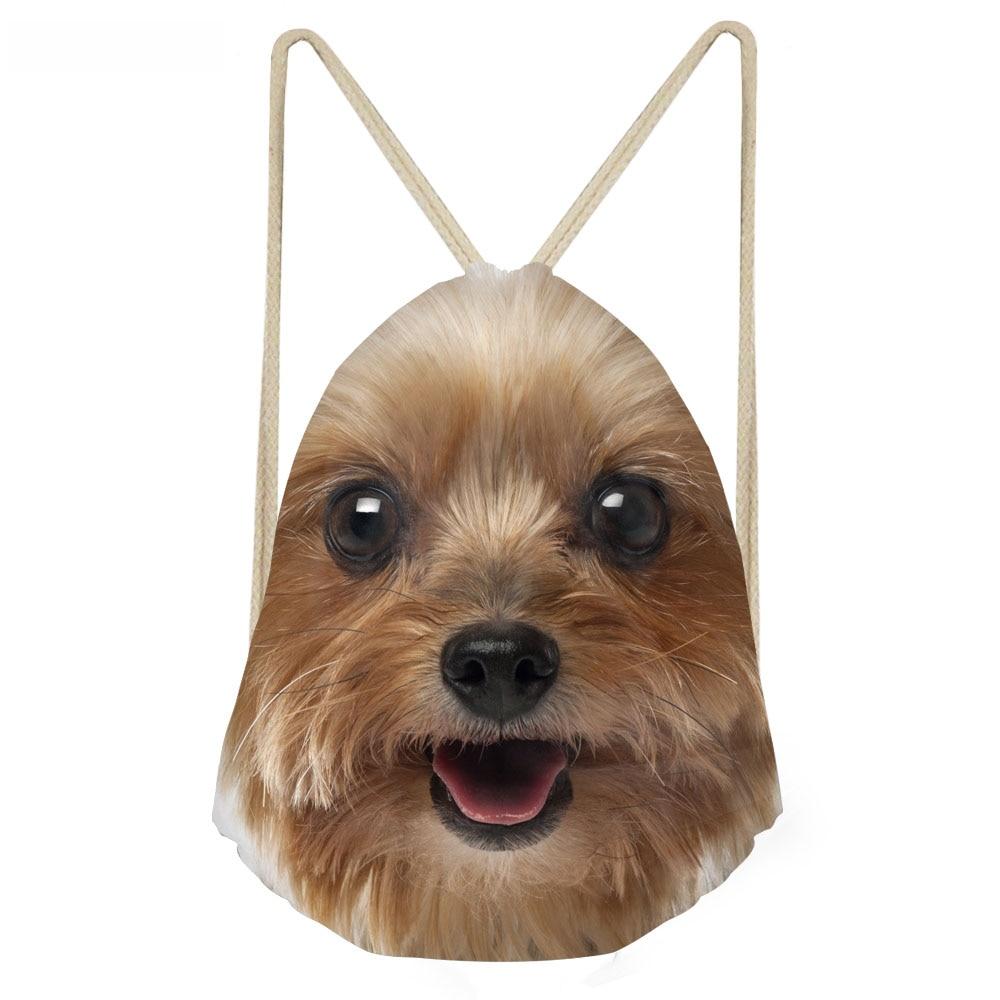 ThiKin Cute 3D Animal Yorkshire Terrier Dog Print Women Drawstring Bags Multifunction Storage Backpack Teen Girl