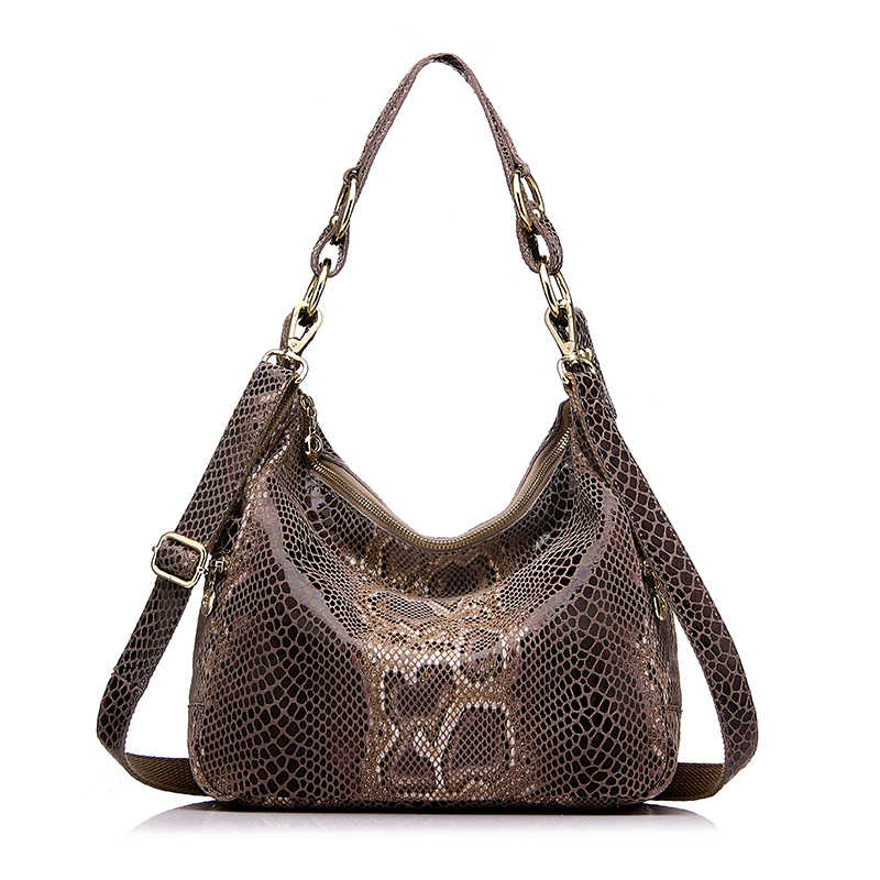 Женская большая сумка хобо из натуральной кожи REALER