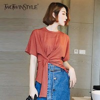 TWOTWINSTYLE Irregular T Shirt Womens O Neck Short Sleeve Tunic High Waist T Shirts 2018 Summer