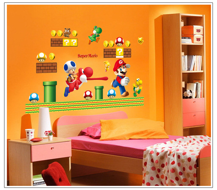 Super Mario Bros Wall Stickers Removable Decal Kids Boys Nursery Play Room  Decor(China (