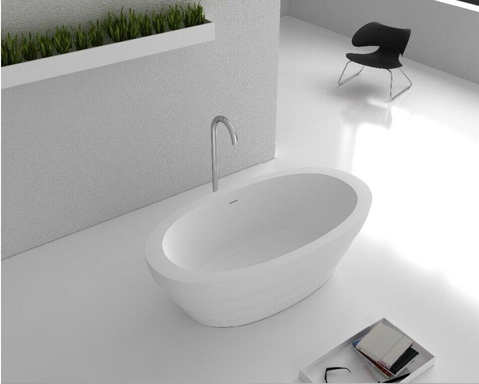1700x900x550mm Solid Surface Stone CUPC Approval Bathtub Oval Freestanding Corian Matt white Finishing Tub RS6579