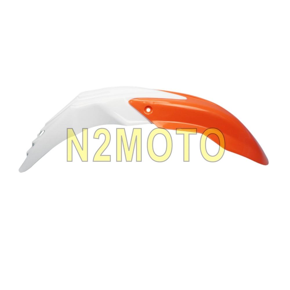 ABS Plastic Motocross Motor Mudguard Tecnik Universal Front Fender Orange With White For XR RM KLX
