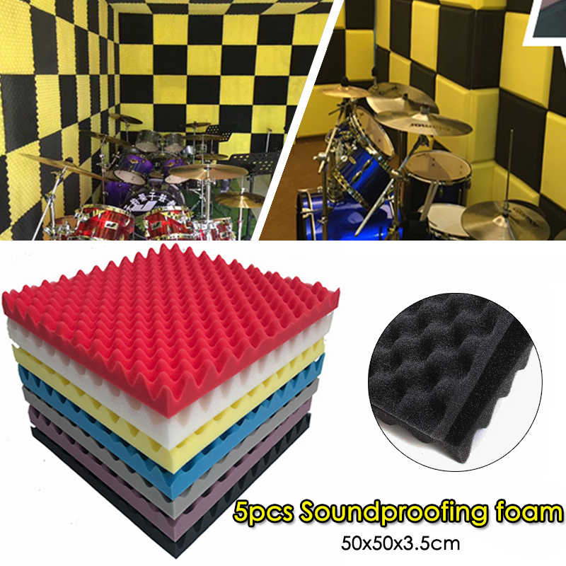 5pcs/set 50x50x3.5cm Soundproof Foam Egg Profile Sound Absorbent Foam Acoustic Panel Noise Absorption File for KTV Audio Room