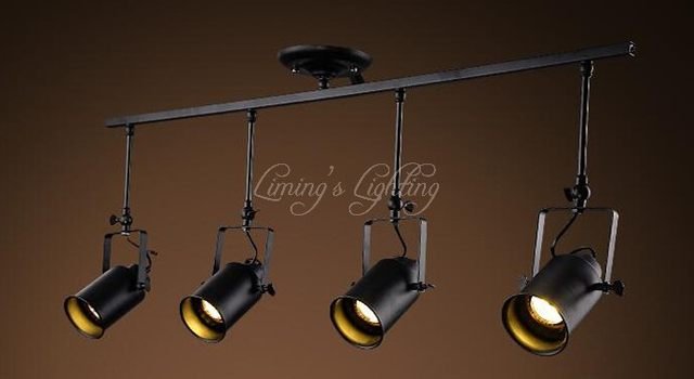 Loft Led Track Lamp Nordic Retro Rh American Spot Black Ceiling Light Vintage Wall Sconce