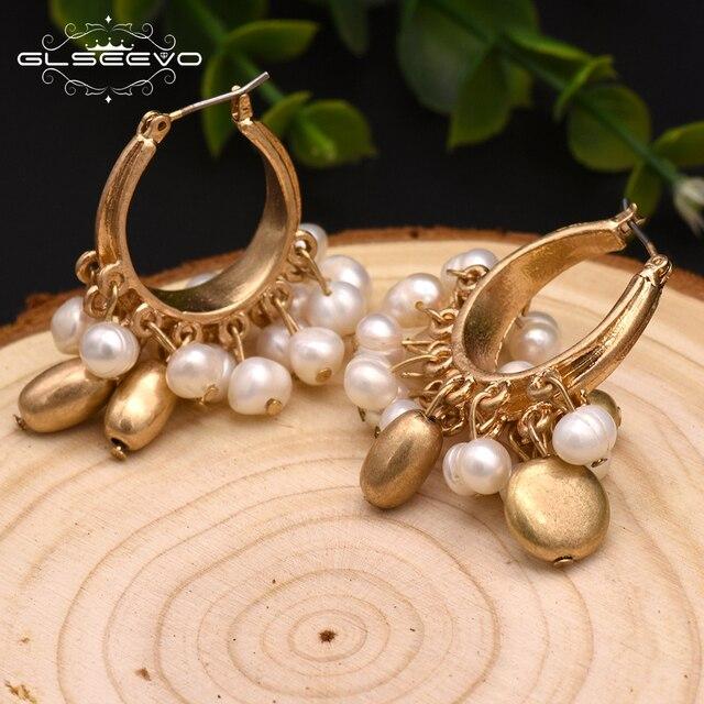 GLSEEVO Handmade Natural Fresh Water Pearl Tassel Drop Earrings For Women Luxury Earrings Fine Jewelry Aretes De Mujer GE0305
