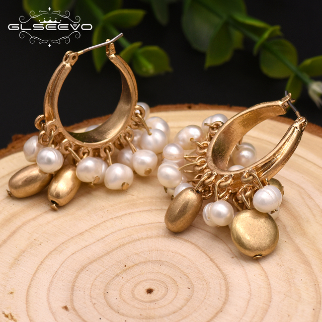 GLSEEVO Handmade Natural Fresh Water Pearl Tassel Drop Earrings For Women Luxury Earrings Fine Jewelry Aretes De Mujer GE0305