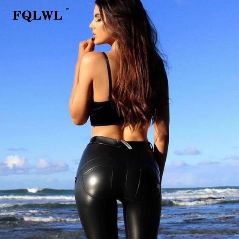 FQLWL Plus Sizes PU Leather Pants Women Elastic Waist Hip Push Up Black Sexy Female Leggings Jegging Casual Skinny Pencil Pants 6