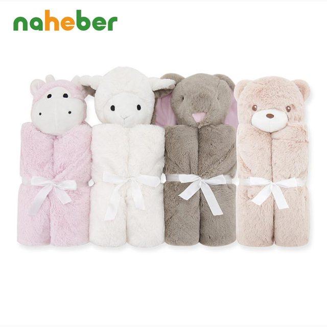 Saco de dormir del bebé de la Historieta Recién Nacido ropa de Cama Colchas Lisas Cobertor Infantil Regalo Conejo Oso de Juguete Suave Cabeza Del Bebé Mantas