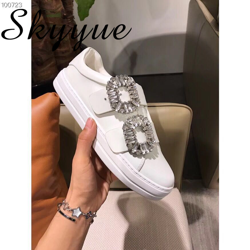 SKYYUE New Genuine Leather Crystal Beading Buckle Strap Women Autumn Flats Round Toe Casual Shoes Women asumer white spring autumn women shoes round toe ladies genuine leather flats shoes casual sneakers single shoes
