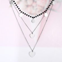 Women Multilayer Heart Charms Necklace Black Crystal Chains Choker Stainless Steel Bijoux Collier Trendy Jewelry 2019