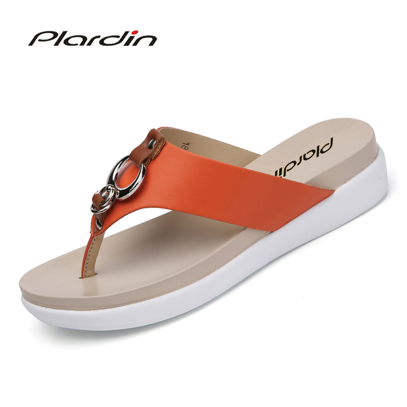 Plardin 2017 Bohemia Summer Casual Women  wedges Platform Woman Ladies Metal Decoration Flip Flops Genuine leather shoes phyanic 2017 gladiator sandals gold silver shoes woman summer platform wedges glitters creepers casual women shoes phy3323